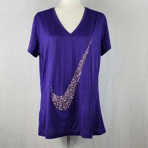 Nike Dri-Fit v neck tee purple XL